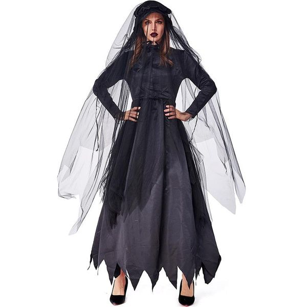 Halloween party carnival black zombie ghost bride costume NHFE155266