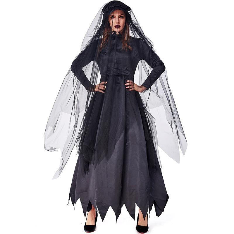 Disfraz de novia fantasma zombie carnaval fiesta de halloween negro NHFE155266