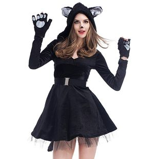 New Halloween cosplay sexy black cat dress NHFE155270's discount tags