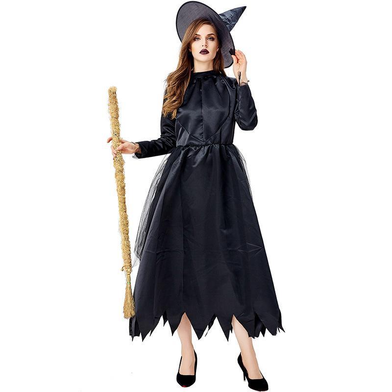 Halloween cosplay evil witches black irregular skirt costumes NHFE155273