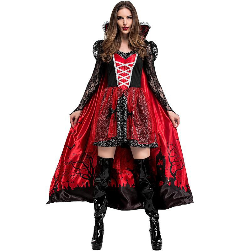 Halloween Carnival Vampire Countess Printed Costume NHFE155275