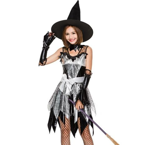 New Halloween imitation leather hot stamping witch cosplay suit NHFE155281's discount tags