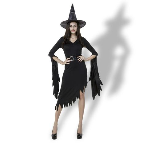 Halloween Witch Costumes Black Irregular Sister Witch Party Costume NHFE155282's discount tags