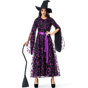 Halloween Purple Star Moon Magic Witch Party Dress NHFE155288's discount tags