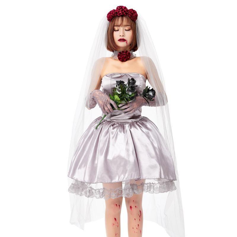 Halloween Adult Vampire Cosplay Ghost Bride Carnival Costume NHFE155299