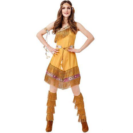 COSPLAY Princess Costume Khaki Tribal Goddess Halloween Costume NHFE155301's discount tags