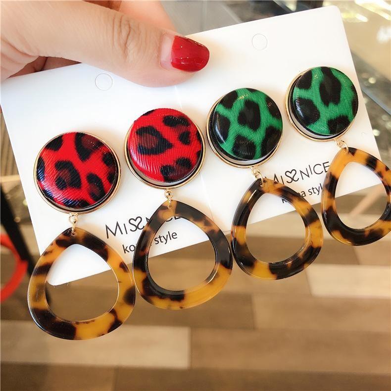 Fashion Openwork Water Drops Acrylic Leopard Leather Button Earrings NHMS155337