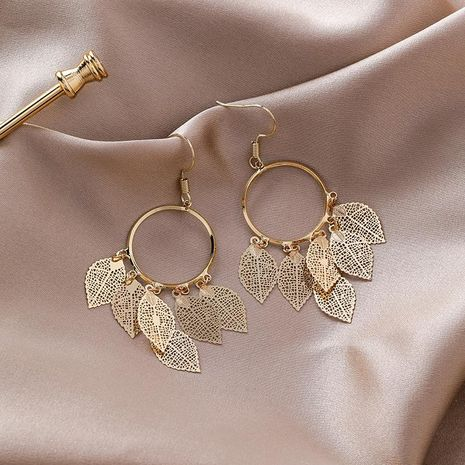 Fashion Alloy Circle Openwork Leaf Earrings NHMS155343's discount tags