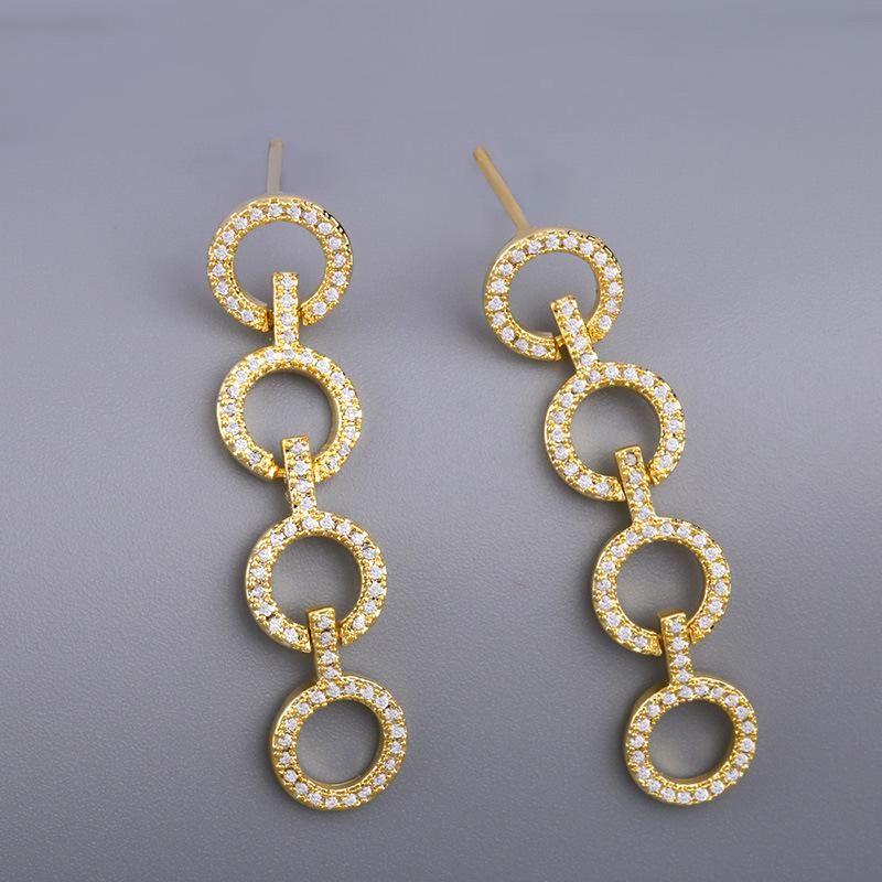 Fashion micro-inlaid zircon circle earrings NHAS155348