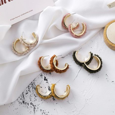 Fashion plush C-shaped alloy hoop earrings NHMS155364's discount tags