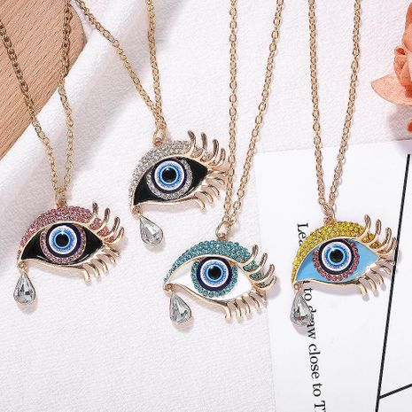 New Alloy Leaf Diamond Eye Necklace Earring Set NHJQ155380's discount tags
