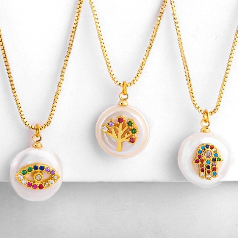 Copper micro-inlaid zircon natural baroque pearl necklace NHAS155382