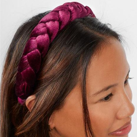 Fashion multicolor gold velvet twist headband NHMD155387's discount tags