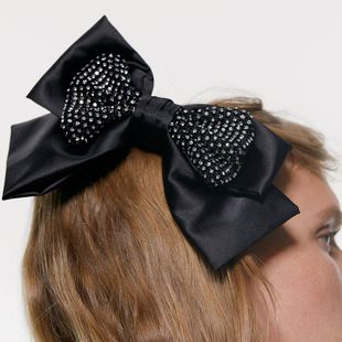 Fashion sweet solid color cloth bow rhinestone hair band hair clip NHJE155393's discount tags