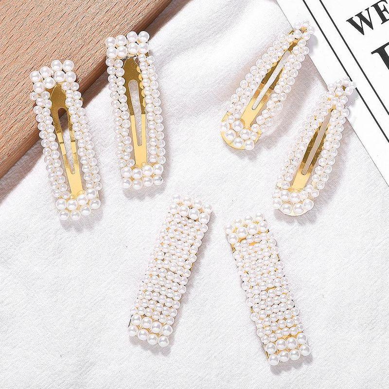 New alloy pearl hair clip NHJQ155398