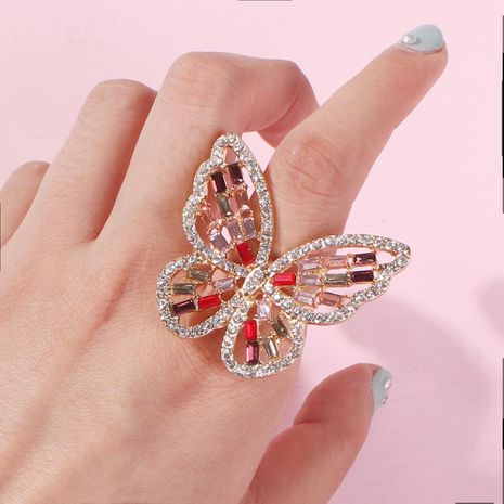 Fashion hollow three-dimensional diamond butterfly ring NHMD155401's discount tags