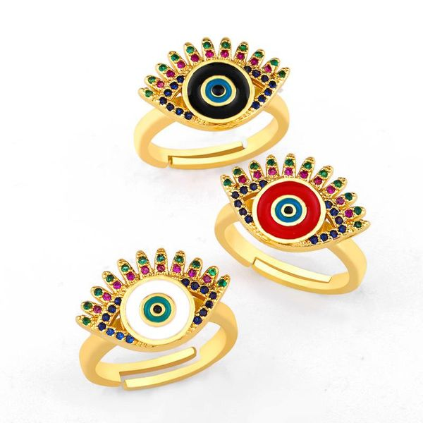 New drop copper gold plated color eye ring NHAS155402