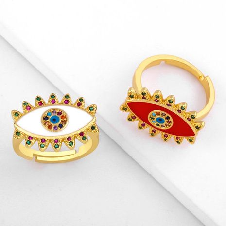 Stylish color copper inlay zircon devil's eye ring NHAS155403's discount tags
