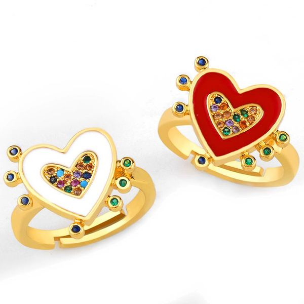 Fashion new copper plated gold drop heart ring NHAS155404