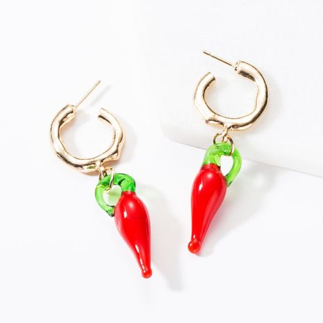 Fashion Alloy Resin Chilli Earrings NHJE155405's discount tags