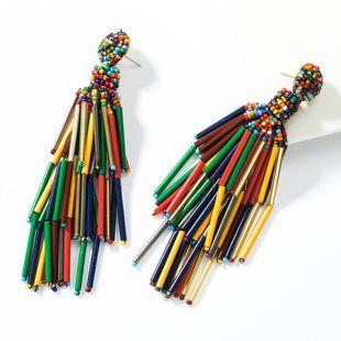 Fashion multi-layer beaded glass rod tassel earrings NHJE155406's discount tags
