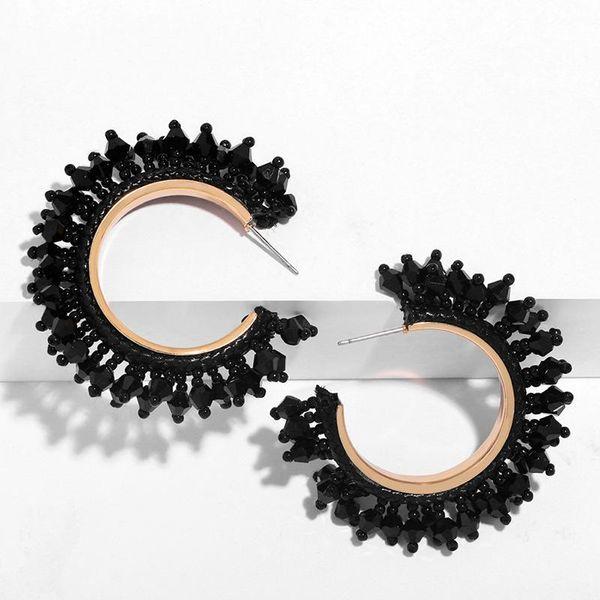 Beaded Acrylic C-shaped hoop earrings NHAS155412