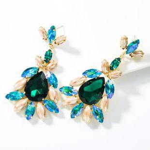 Drop-shaped multi-layer alloy diamond earrings NHJE155413's discount tags