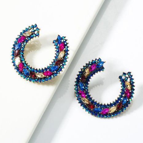 C-shaped alloy colored diamond hoop earrings NHJE155416's discount tags