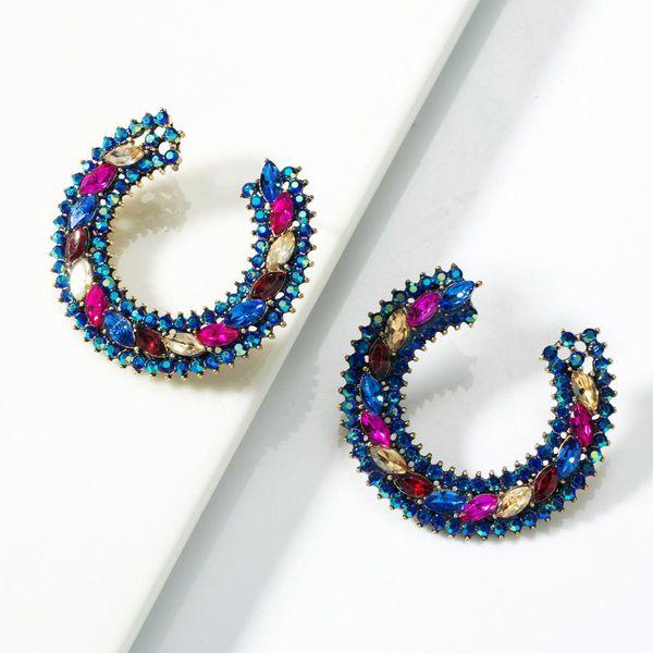 C-shaped alloy colored diamond hoop earrings NHJE155416