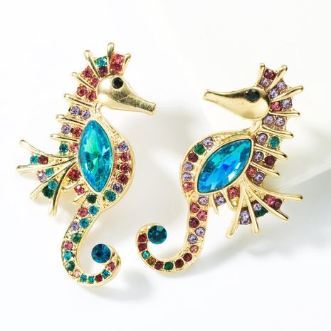 Fashion hippocampus color diamond earrings NHJE155418's discount tags