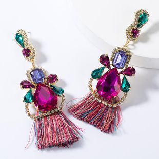 Drop-shaped multi-layer diamond-studded tassel earrings NHJE155422's discount tags