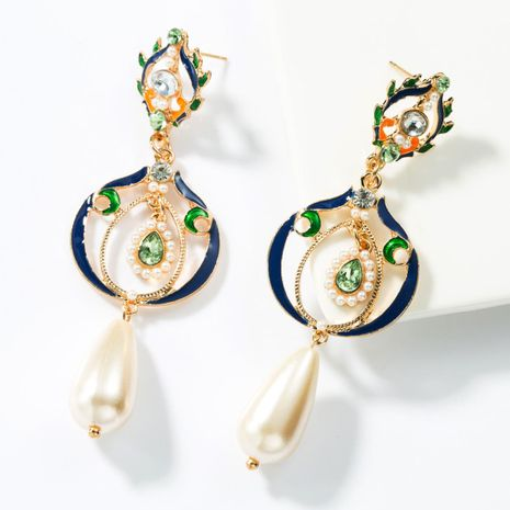 Multi-layer alloy drop oil and diamond imitation pearl earrings NHJE155427's discount tags