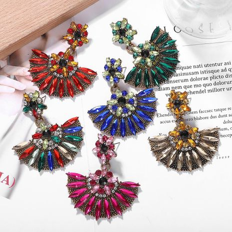 Fashion alloy diamond flower earrings NHJQ155429's discount tags