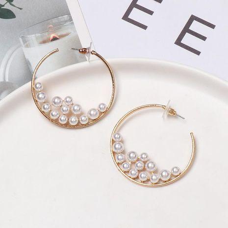 C-shaped metal earrings inlaid with pearl hoop earrings NHJJ155430's discount tags