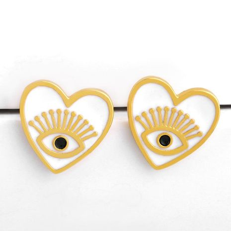 Fashion copper heart shaped eyes stud earrings NHAS155431's discount tags