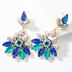 Fashion Alloy Diamond Ceramic Beads Floral Eye Earrings NHJE155433's discount tags