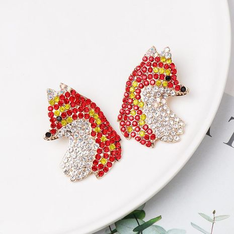 Fashion color diamond fox red stud earrings NHJJ155438's discount tags