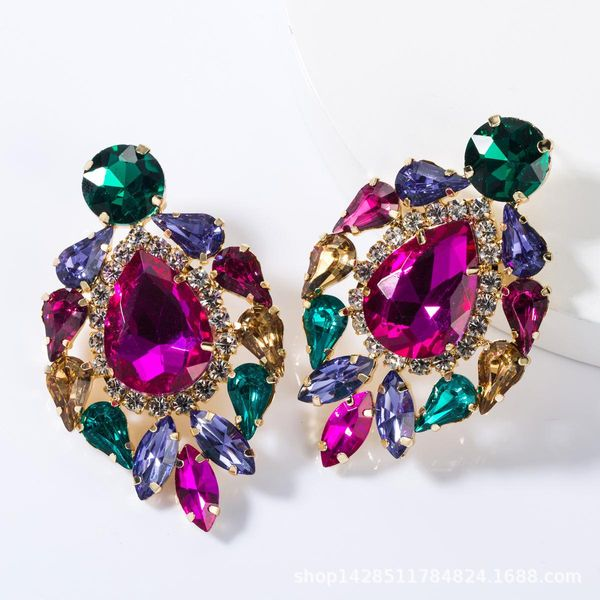 Fashion drop-shaped multi-layer alloy studded stud earrings NHJE155439