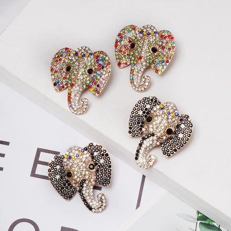 Colored rhinestone animal elephant stud earrings NHJJ155441's discount tags