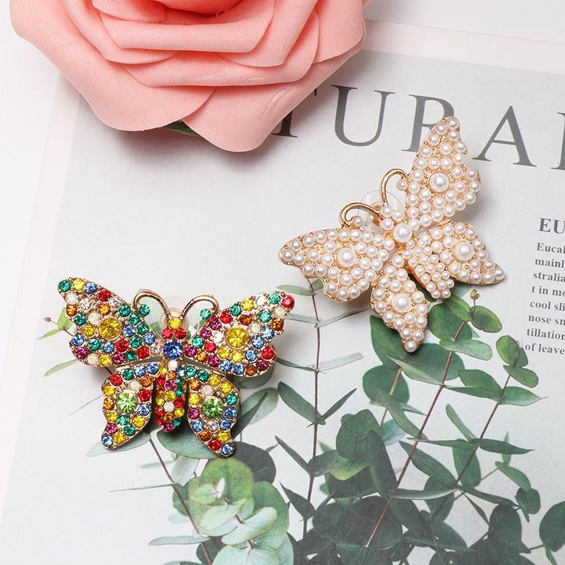 Pearl-studded butterfly stud earrings NHJJ155444