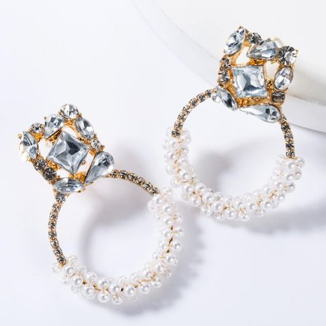 Square Alloy Diamond Ring Pearl Earrings NHJE155445's discount tags