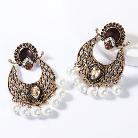 Fashion Multilayer Alloy Rhinestone Pearl Earrings NHJE155456's discount tags
