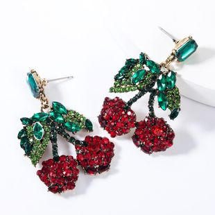 Colored rhinestone glass drill cherry earrings NHJE155452's discount tags