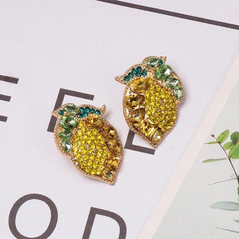 Colorful diamond fruit lemon stud earrings NHJJ155451's discount tags