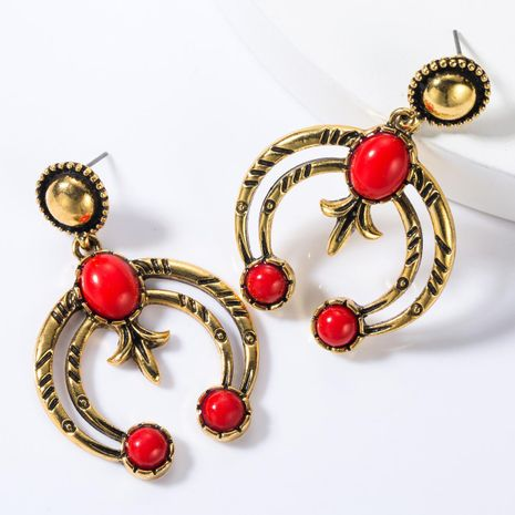 Multi-layer alloy inlay earrings NHJE155450's discount tags