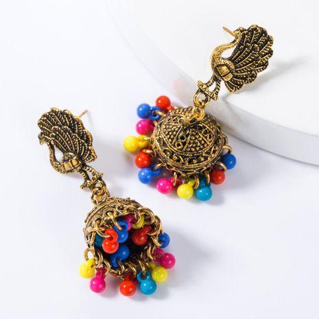 Vintage Alloy Peacock Opener Bell Resin Earrings NHJE155457's discount tags