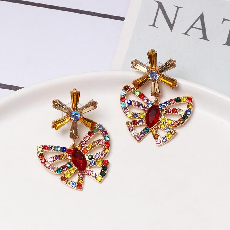 Colored diamond butterfly earrings NHJJ155458