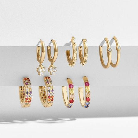 Color micro inlaid zircon alloy earrings set NHLU155461's discount tags