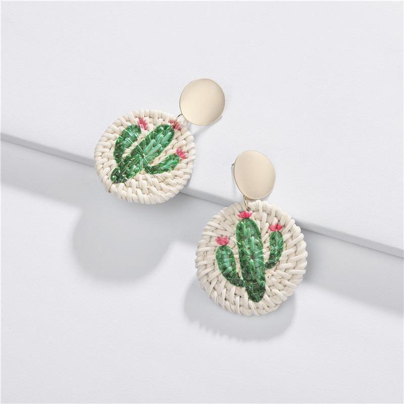 New rattan color cactus earrings NHLU155463