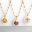 Fashion copper inlaid zircon cross love pearl necklace NHAS155384